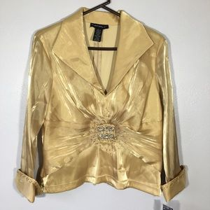 Cache NWT Gold Metallic Blouse with Jeweled Sheer